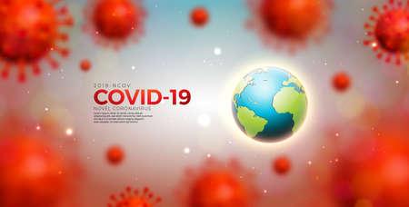 Covid-19. Coronavirus Epidemic Design with Virus Cells and Earth on Light Background. Vector 2019-ncov  Virus Illustration Template on Dangerous SARS Outbreak Theme for Banner or Flyer.