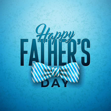 Happy Father's Day Greeting Card Design with Sriped Bow Tie and Typography Letter on Blue Background. Vector Celebration Illustration for Dad. Template for Banner, Flyer, Invitation, Brochure, Poster