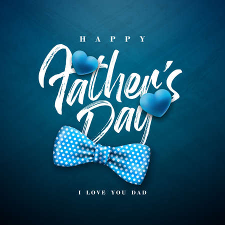 Happy Fathers Day Greeting Card Design with Dotted Bow Tie and Typography Letter on Blue Chalkboard Background. Vector Celebration Illustration for Dad. Template for Banner, Flyer or Poster.