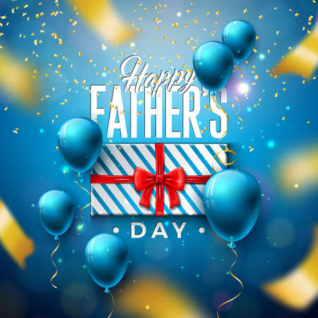 Happy Fathers Day Greeting Card Design with Gift Box and Falling Confetti on Shiny Blue Background. Vector Celebration Illustration for Dad. Template for Banner, Flyer, Invitation, Brochure, Poster.
