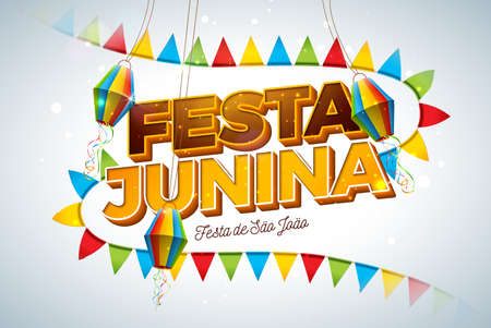 Festa Junina Illustration with Party Flags, Paper Lantern and 3d Letter on Light Background. Vector Brazil June Festival Design for Greeting Card, Invitation or Holiday Poster.