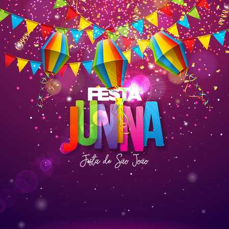 Festa Junina Illustration with Party Flags, Paper Lantern and Colorful Letter on Shiny Background. Vector Brazil June Festival Design for Greeting Card, Invitation or Holiday Poster.