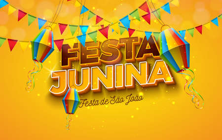 Festa Junina Illustration with Party Flags, Paper Lantern and 3d Letter on Yellow Background. Vector Brazil June Festival Design for Greeting Card, Invitation or Holiday Poster.