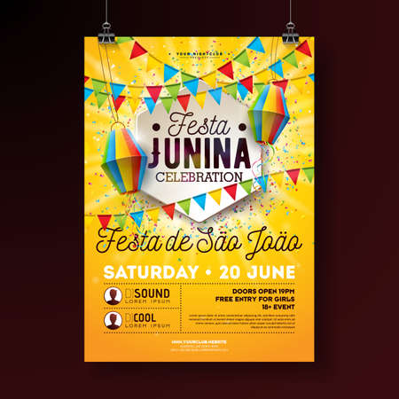 Festa Junina Party Flyer Illustration with Typography Design. Flags, Paper Lantern and Confetti on Yellow Background. Vector Brazil June Festival Design for Invitation or Holiday Celebration Poster.