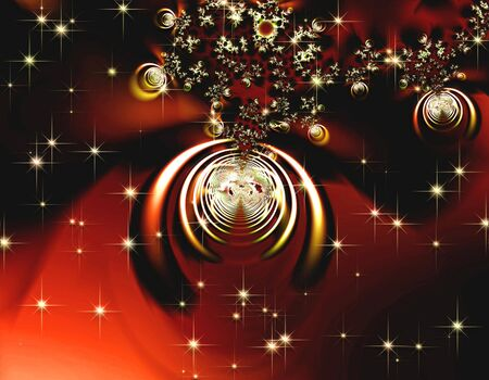 bijou: Abstract sparkling red ornaments, illustration, computer-generated,  Stock Photo