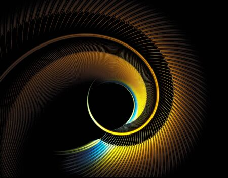light reflex: Illustration of curved feather, abstract, computer-generated, fractal art, high detail, Stock Photo