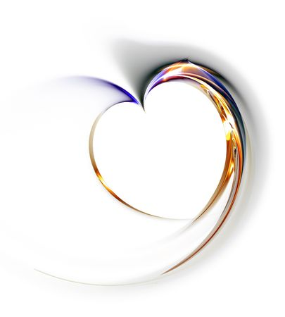 Delicate heart on a white background, illustration, abstract,  computer-generated, fractal art Stock fotó