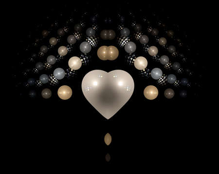 nacr�: Pearly Coeur, illustration, g�n�r� par ordinateur, art fractale
