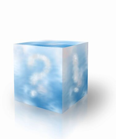 Cubical box   with blue sky and clouds forming question and warning signs  photo