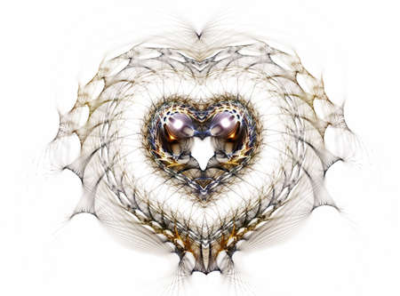 Delicate filigree heart on white background photo