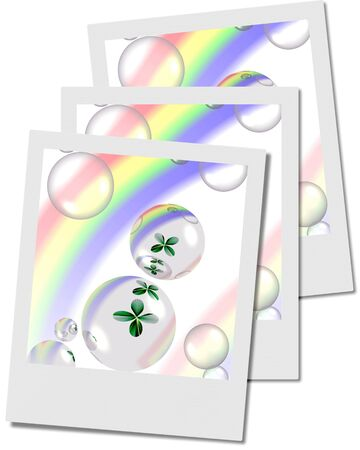 four leafs clover: shamrock and bubbles with rainbow polaroids, illustration, computer-generated, Stock Photo