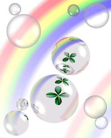 four leafs clover: Abstract composition, illustration  with shamrock ,bubbles and rainbow, computer-generated