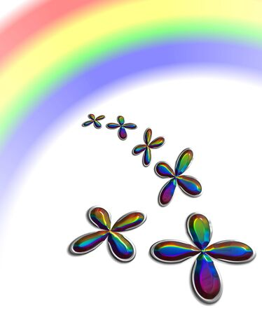 Shamrock with rainbow reflection, illustration, computer-generated, Stock Illustration - 3181443