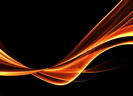 Abstract background with red hot wavy lines on black background Stock Photo