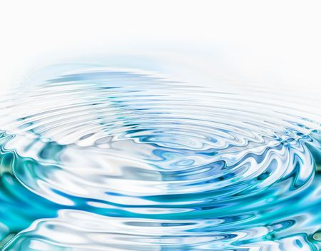 Crystal clear water ripples on white background
