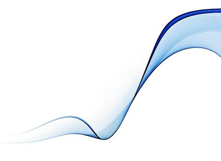 Blue abstract background, wavy lines on white background Stock Photo