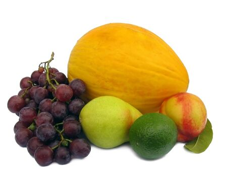 nonfat: peach, grapes, lime and melon on white background