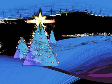Christmas tree in the dark night, illustration, grunge illustration