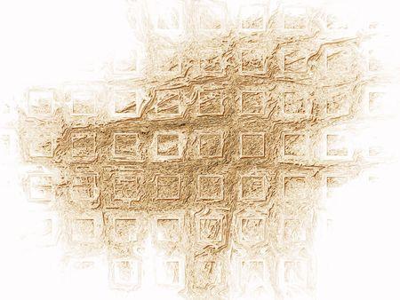 Illustration of a golden square shaped pattern on white illustration