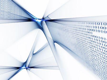 Binaire code gegevensstroom, technologie stijl achtergrond Stockfoto