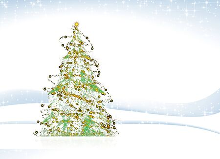xmass: Abstract illustration, sparkling Christmas tree