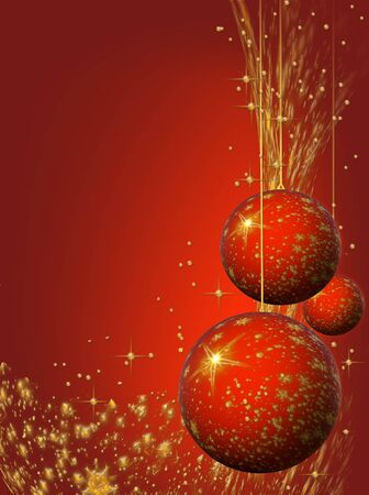 Abstract sparkling holiday red and golden bulbs and ornaments photo