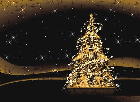 Decorated Christmas tree shining in the night, illustration illustration