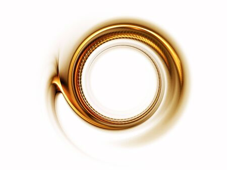 Golden stripes in circular motion on white background
