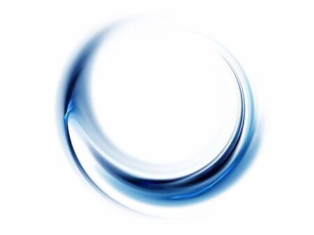 Blue striped circular abstract motion on white background