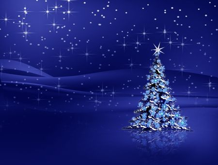 Sparkling decorated Christmas tree with snowflakes and stardust Stock Photo