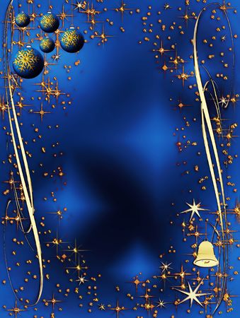 Christmas sparkling decorating bulbs and bell with snowflakes and stardust Stock Photo - 3874069