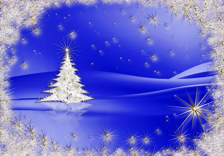 stardust: Sparkling decorated Christmas tree with stardust shining in the frosty night