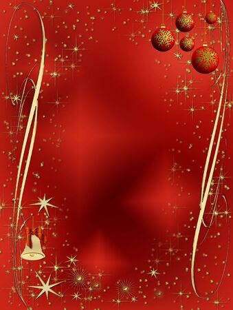 Christmas sparkling decorating bulbs and bell with snowflakes and stardust Stock Photo - 3874068