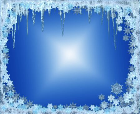 icy: crystal icy winter seasonal frame with snowflakes and frosty icicles  Stock Photo