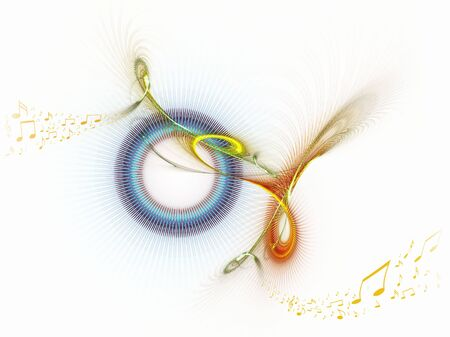 Music notes dancing away, colorful illustration on white Stock Illustration - 4023625