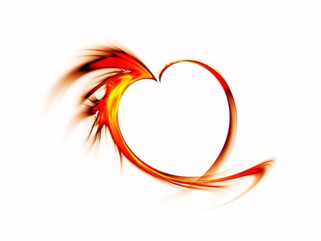 Abstract blazing red heart made of flames on white background Фото со стока