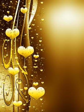 elegant valentines background with golden  hearts and stars