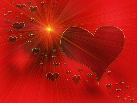 valentine hearts, rays of love, red hearts and golden rays Stock Photo