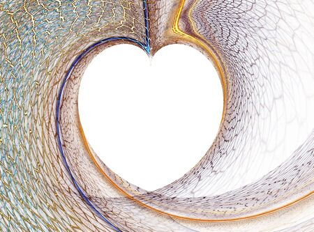 formed: heart shape, white heart formed by colorful net Stock Photo