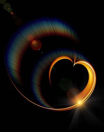 valentine hearts, golden heart with rainbow rays Stock Photo - 4156188