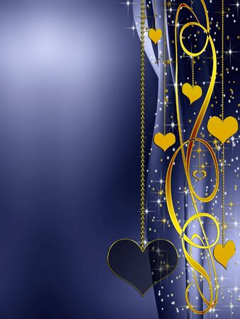 Elegant blue valentines background with golden hearts and stars Stock Photo - 4176855