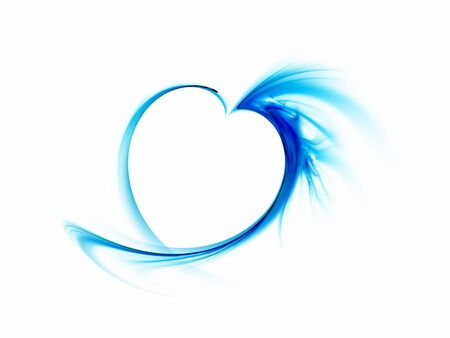 devotion: delicate blue smoky heart on a white background