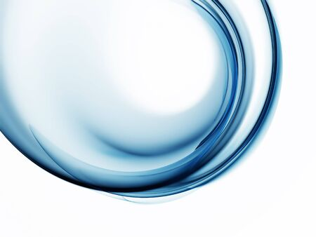 Abstract illustration of blue circular flowing energy on white background Stock Photo