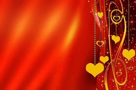 Shiny metallic golden hearts with copy space on vivid red background Stock Photo - 4184891