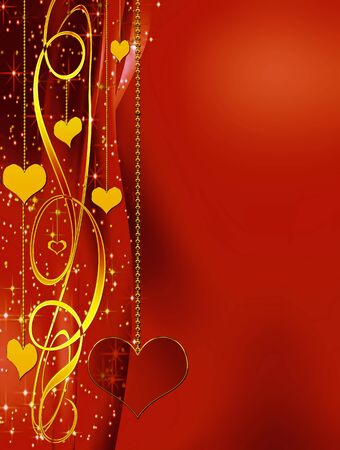 Elegant red valentines background with golden hearts and stars, with copy space photo