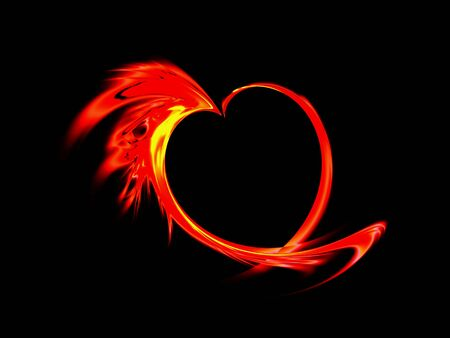 Abstract blazing red heart made of flames on black background