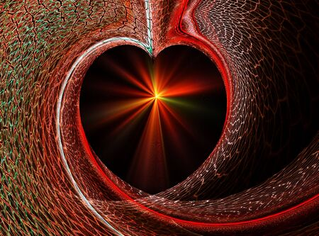 threads of love, red radiant heart formed by colorful net photo