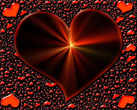 Valentine Hearts, shining heart with rays   and scattered small red hearts                                 photo