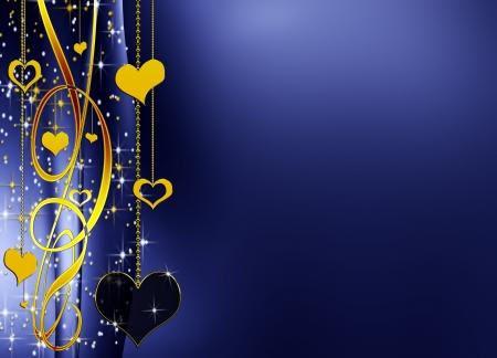 corazones azules: azul elegante valentines fondo con coraz�n de oro y las estrellas, con copia espacio Foto de archivo