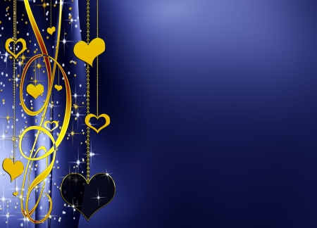scatter: blue elegant valentines background with golden hearts and stars, with copy space Stock Photo